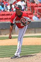 Jerry Gil #24 of the Carolina Mudcats pitching during a game against the Tennessee Smokies on April 20, 2010 in Zebulon, NC.