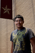 Moises Martinez, 16-yrs, of Mission, Texas. Heloise talks to students at the Honors Summer Math Camp at Texas State University in San Marcos, Texas about living away from home.  July 14, 2009.