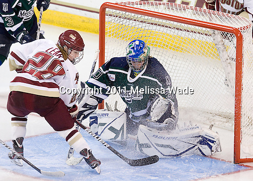 Kate Leary (BC - 28), Hillary Pattenden (Mercyhurst - 30) - The Boston College Eagles defeated the visiting Mercyhurst College Lakers 4-2 (EN) on Friday, December 9, 2011, at Kelley Rink/Conte Forum in Chestnut Hill, Massachusetts.