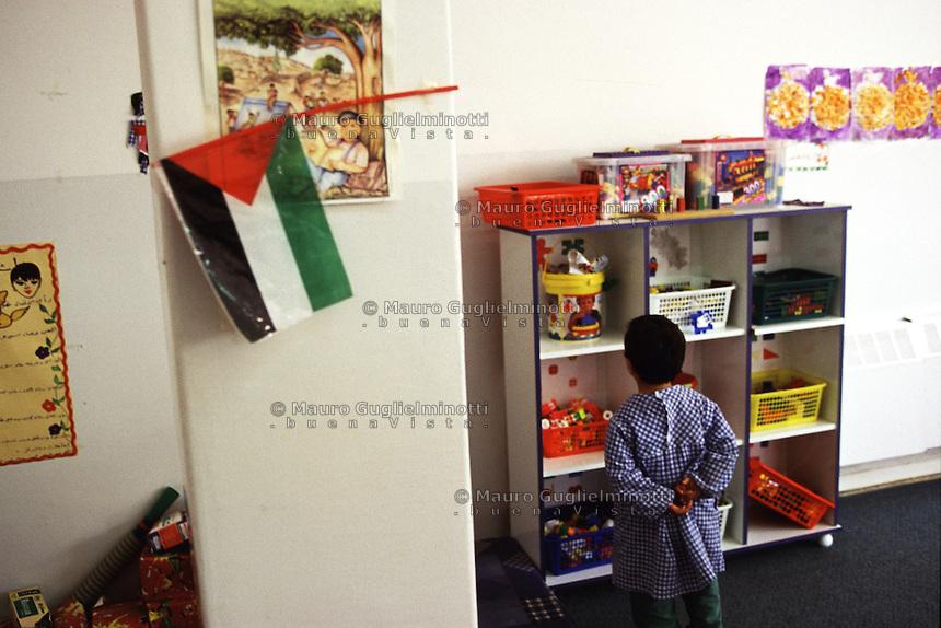Israele, Palestina, Territori occupati, Bambino in una scuola materna