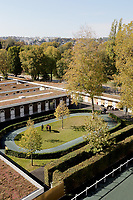 LONGCHAMP, FRANCE - October 06, 2018: View at stable Area of the Longchamp race track, now officially called ParisLongcham.