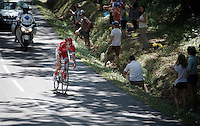 Kenneth Vanbilsen (BEL/Cofidis) closes in on race leader Pierrick F&eacute;drigo (FRA/Bretagne-S&eacute;ch&eacute; Environnement) 2 minutes ahead. <br /> At one point during the stage they will lead with as much as 15 minutes on the peloton.<br /> <br /> stage 10: Tarbes - La Pierre-Saint-Martin (167km)<br /> 2015 Tour de France