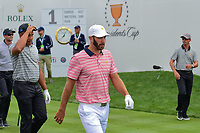 Dustin Johnson (USA) departs the first tee during round 2 Four-Ball of the 2017 President's Cup, Liberty National Golf Club, Jersey City, New Jersey, USA. 9/29/2017.<br /> Picture: Golffile | Ken Murray<br /> <br /> All photo usage must carry mandatory copyright credit (&copy; Golffile | Ken Murray)