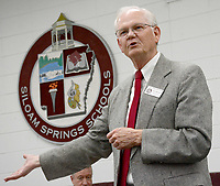 Janelle Jessen/Siloam Sunday<br /> Ken Ramey, superintendent of Siloam Springs School District, spoke during a school board meeting in September. Ramey announced on Thursday that he plans to retire on June 30 after a 52-year career in education.