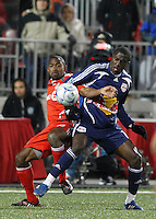 Toronto FC defender Marvell Wynne (16) and New York Red Bulls forward Jozy Altidore (17). Toronto FC and the New York Red Bulls played to a 1-1 tie during a Major League Soccer match at BMO Field in Toronto, Ontario, Canada, on May 1, 2008.