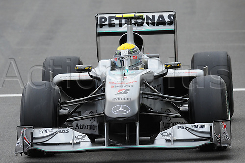 German driver Nico Rosberg of Mercedes GP drives his car across the race track during qualifying at Spa-Francorchamps Circuit near Spa, Belgium