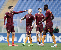 Roma&rsquo;s Kevin Strootman , left, gestures to his teammates, from second left, Radja Nainggolan, Kostas Manolas and Antonio Ruediger, after scoring during the Serie A soccer match between Roma and Napoli at the Olympic stadium, 4 March 2017.<br /> UPDATE IMAGES PRESS/Isabella Bonotto