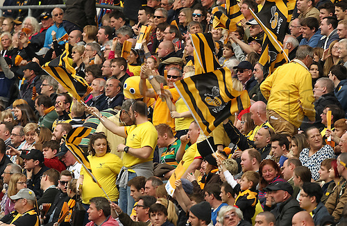 03.04.2016. Ricoh Arena, Coventry, England. Rugby Aviva Premiership. Wasps versus Northampton Saints.   Wasps supporters celebrate their teams victory.
