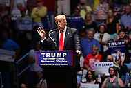 Richmond, VA - June 10, 2016:  Republican presidential candidate and businessman Donald J. Trump speaks at a campaign rally at the Richmond Coliseum in Richmond, VA, June 10, 2016. Trump is the presumptive nominee for his party, having won the required number of delegates.  (Photo by Don Baxter/Media Images International)