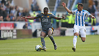 Leicester City's Ricardo Pereira and Huddersfield Town's Karlan Grant <br /> <br /> Photographer Stephen White/CameraSport<br /> <br /> The Premier League - Huddersfield Town v Leicester City - Saturday 6th April 2019 - John Smith's Stadium - Huddersfield<br /> <br /> World Copyright © 2019 CameraSport. All rights reserved. 43 Linden Ave. Countesthorpe. Leicester. England. LE8 5PG - Tel: +44 (0) 116 277 4147 - admin@camerasport.com - www.camerasport.com