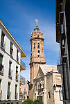 Historic street and buildings church tower San Sebastian, town centre of Antequera,  Malaga province, Spain