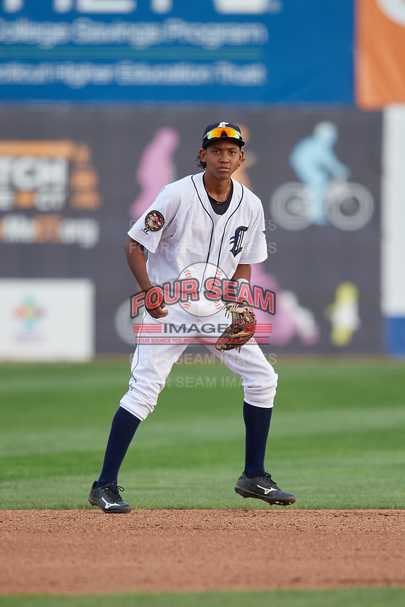 Connecticut Tigers shortstop Jose King (48) during a game against the Lowell Spinners on August 26, 2018 at Dodd Stadium in Norwich, Connecticut.  Connecticut defeated Lowell 11-3.  (Mike Janes/Four Seam Images)
