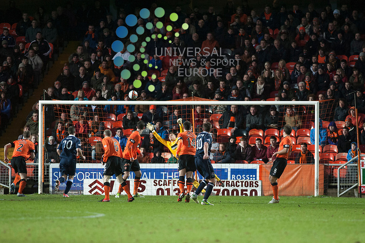 Richard Brittain with a long range goal during the Dundee Utd v Ross County match at Tannadice.  Picture: Fraser Stephen/Universal News And Sport (Scotland).  Saturday 27 January 2013.