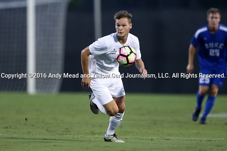 27 September 2016: Georgia State's Max Hemmings (ENG). The Duke University Blue Devils hosted the Georgia State University Panthers at Koskinen Stadium in Durham, North Carolina in a 2016 NCAA Division I Men's Soccer match. Georgia State won the game 2-1 in two overtimes.