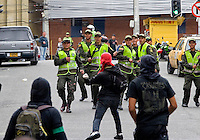 A group of demonstrators clash with Colombian policemen while they hold a protest during the celebration of May 1, International Day of the Work, facing to the police SMAT. In Medellín, Colombia. May 1, 2012. Photo by Fredy Amariles/VIEWpress.