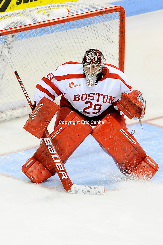 Boston University Terriers goalie Matt O'Connor (29) during the Harvard University at Boston University NCAA hockey match held at the Agganis Arena in Boston Massachusetts.   Eric Canha/CSM