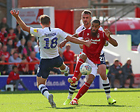 Nottingham Forest's Lewis Grabban battles between Preston North End's Ryan Ledson & Patrick Bauer<br /> <br /> Photographer David Shipman/CameraSport<br /> <br /> The EFL Sky Bet Championship - Nottingham Forest v Preston North End - Saturday 31st August 2019 - The City Ground - Nottingham<br /> <br /> World Copyright © 2019 CameraSport. All rights reserved. 43 Linden Ave. Countesthorpe. Leicester. England. LE8 5PG - Tel: +44 (0) 116 277 4147 - admin@camerasport.com - www.camerasport.com