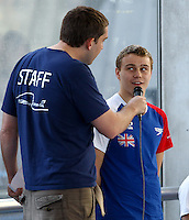 PICTURE BY ALEX WHITEHEAD/SWPIX.COM - Swimming - British Swimming Heroes Tour 2012 - Coventry Sport & Leisure Centre, Coventry, England - 17/09/12 - Oliver Hynd is interviewed.