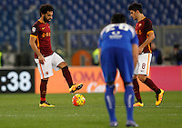 Calcio, Serie A: Roma vs Sampdoria. Roma, stadio Olimpico, 7 febbraio 2016.<br /> Roma&rsquo;s Mohamed Salah, left, and Diego Perotti react after Sampdoria scored during the Italian Serie A football match between Roma and Sampdoria at Rome's Olympic stadium, 7 January 2016.<br /> UPDATE IMAGES PRESS/Riccardo De Luca