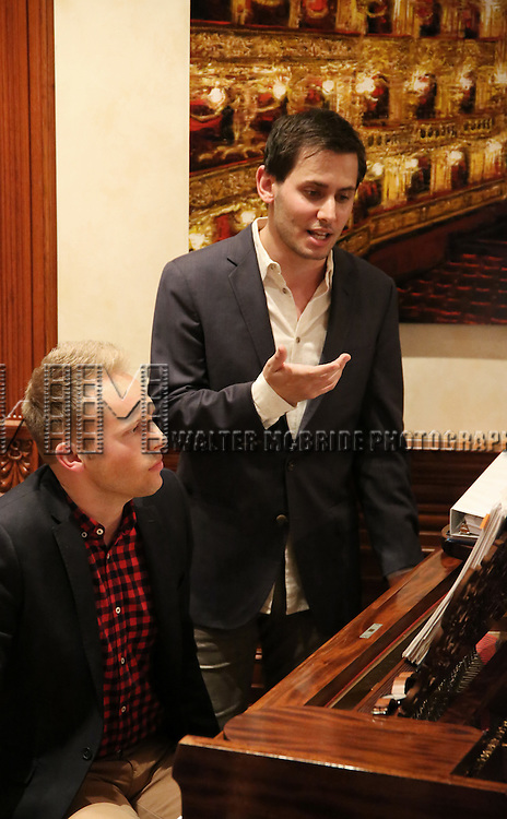 Justin Paul and Benj Pasek during the Dramatists Guild Fund intimate salon with Benj Pasek and Justin Paul at the home of Kara Unterberg on March 7, 2016 in New York City.
