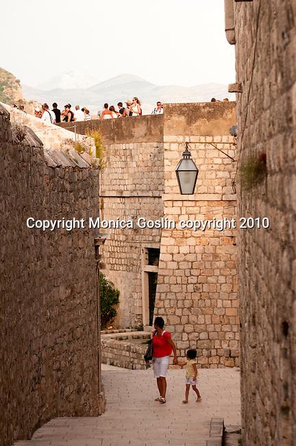 The city wall in Dubrovnik, Croatia.