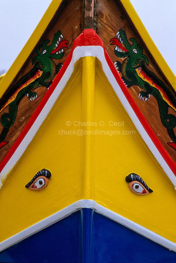 Msida, near Valletta, Malta.  Luzzu, Small Boat, with Eyes of Osiris.