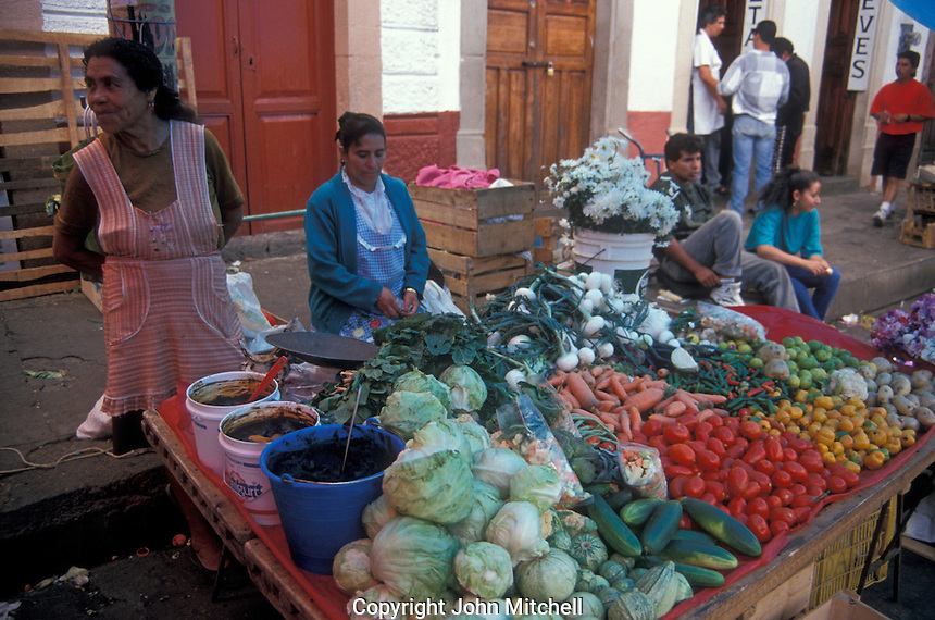 Women selling produce at the market in Patzcuaro, Michoacan, Mexico
