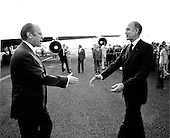 United States President Gerald R. Ford greets French President Valéry Giscard d'Estaing in Martinique at the beginning of President Ford's third foreign trip on December 14, 1974.  His first visit was a brief one to Mexico. It was followed in November by his visit to Japan, South Korea, and the Union of Soviet Socialist Republics (U.S.S.R.)<br /> Mandatory Credit: David Hume Kennerly / White House via CNP