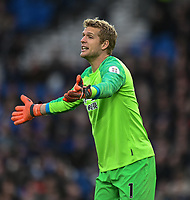 Huddersfield Town's Jonas Lossl <br /> <br /> Photographer David Horton/CameraSport<br /> <br /> The Premier League - Brighton and Hove Albion v Huddersfield Town - Saturday 2nd March 2019 - The Amex Stadium - Brighton<br /> <br /> World Copyright © 2019 CameraSport. All rights reserved. 43 Linden Ave. Countesthorpe. Leicester. England. LE8 5PG - Tel: +44 (0) 116 277 4147 - admin@camerasport.com - www.camerasport.com
