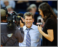 UCONN Women's Basketball Head Coach Geno Auriemma is interviewd by former UCONN great Rebecca Lobo at half time of the Baylor game on 11/16/2010.