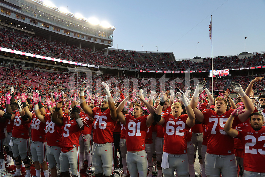 "Ohio State Buckeyes players sing ""Carmen Ohio"" following their 38-17 against the Indiana Hoosiers on Saturday, October 8, 2016 at Ohio Stadium in Columbus, Ohio. (Joshua A. Bickel/The Columbus Dispatch)"