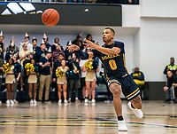 WASHINGTON, DC - FEBRUARY 22: Ayinde Hikim #0 of La Salle sends off a pass during a game between La Salle and George Washington at Charles E Smith Center on February 22, 2020 in Washington, DC.