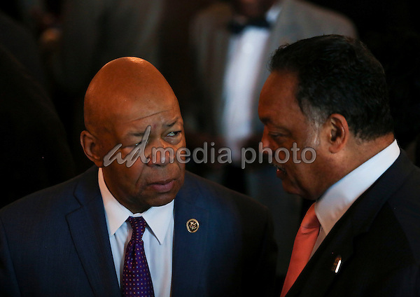 Rep. Elijah Cummings (D-MD) speaks with Rev. Jesse Jackson during a reception in honor of the opening of the Smithsonian National Museum of African American History and Culture listens, in the Grand Foyer of the White House September 23, 2016, Washington, DC. Photo Credit: Aude Guerrucci/CNP/AdMedia