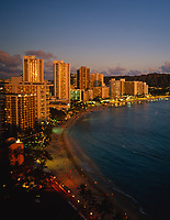 Waikiki Beach at Night, Honolulu, Oahu, Hawaii, USA.