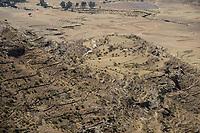 ETHIOPIA, Tigray, erosion in highland, erosion protection walls / AETHIOPIEN, Tigray, Erosion im Hochland
