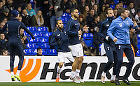 Andros Townsend (2nd left) of Tottenham Hotspur is named as a substitute following a time out of the team during the UEFA Europa League group match between Tottenham Hotspur and Monaco at White Hart Lane, London, England on 10 December 2015. Photo by Andy Rowland.