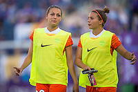 Orlando, FL - Thursday June 23, 2016: Cami Privett, Amber Brooks prior to a regular season National Women's Soccer League (NWSL) match between the Orlando Pride and the Houston Dash at Camping World Stadium.