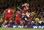 Wales captain Alun Wyn Jones claims the high ball.<br /> RBS 6 Nations 2014<br /> Wales v Italy<br /> Millennium Stadium<br /> 01.02.14<br /> <br /> ©Steve Pope-SPORTINGWALES