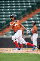 Ysaac Batista (3) follows through on a swing during the Dominican Prospect League Elite Underclass International Series, powered by Baseball Factory, on July 21, 2018 at Schaumburg Boomers Stadium in Schaumburg, Illinois.  (Mike Janes/Four Seam Images)