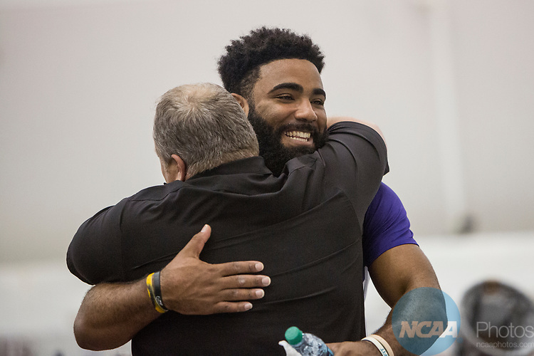 COLLEGE STATION, TX - MARCH 11: Johnnie Jackson of Louisiana State University celebrates after his win in the weight thrown during the Division I Men's and Women's Indoor Track & Field Championship held at the Gilliam Indoor Track Stadium on the Texas A&M University campus on March 11, 2017 in College Station, Texas. (Photo by Michael Starghill/NCAA Photos/NCAA Photos via Getty Images)