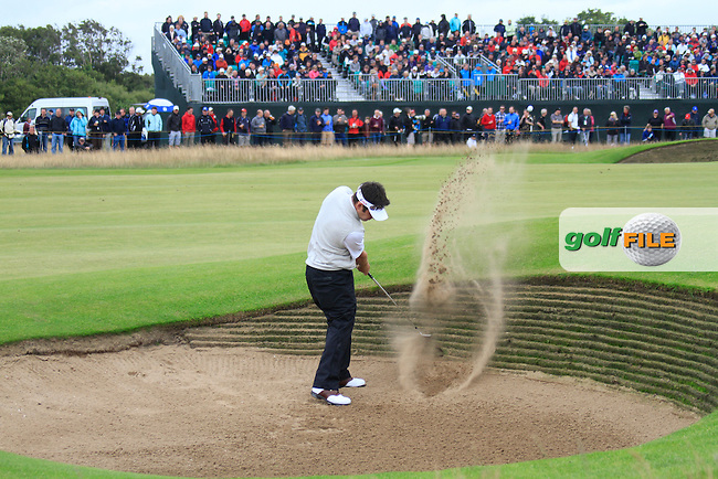 Louis Oosthuizen (RSA) plays his 2nd shot out of a fairway bunker on the 13th hole during Thursday's Round 1 of the 141st Open Championship at Royal Lytham & St.Annes, England 19th July 2012 (Photo Eoin Clarke/www.golffile.ie)