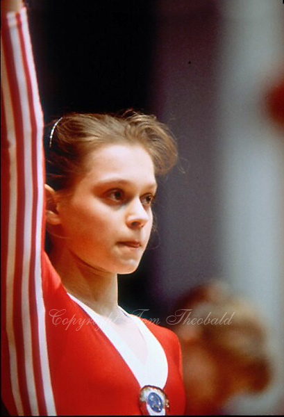 May 15, 1983; Los Angeles, California, USA; Portrait is of artistic gymnast Tatiana Frolova of Soviet Union taken at USA vs USSR dual meet at Los Angeles, California, USA in May, 1983..(©) Copyright 1983 Tom Theobald.