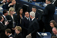 Bill Clinton; Silvio Berlusconi<br /> STRASBOURG, FRANCE - JULY 01: The coffin holding the remains of former German Chancellor Helmut Kohl draped by the European flag is carried to the memorial ceremony at the European Parliament on July 1, 2017 in Strasbourg, France. Kohl was chancellor of Germany for 16 years and led the country from the Cold War through to reunification. He died on June 16 at the age of 87<br /> Foto Elyxandro Cegarra / Panoramic / Insidefoto <br /> ITALY ONLY