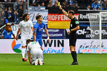 11.05.2019, PreZero Dual Arena, Sinsheim, GER, 1. FBL, TSG 1899 Hoffenheim vs. SV Werder Bremen, <br /> <br /> DFL REGULATIONS PROHIBIT ANY USE OF PHOTOGRAPHS AS IMAGE SEQUENCES AND/OR QUASI-VIDEO.<br /> <br /> im Bild: Gelbe Karte fuer Christoph Baumgartner (TSG Hoffenheim #42) von Schiedsrichter Bastian Dankert<br /> <br /> Foto &copy; nordphoto / Fabisch