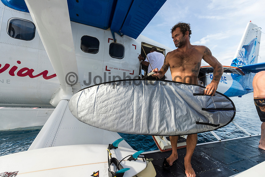 Four Seasons,Kuda Huraa, Maldives (Sunday, August 9, 2015) The worlds &lsquo;most luxurious surfing event,&rsquo; the Four Seasons Maldives Surfing Champions Trophy will finished yesterday  at the famed &lsquo;Sultans Point&rsquo; with the  Grand Final  between Shane Dorian (HAW) and defending event champion Dave Rastovich (AUS). Dorian led form the start with two high scoring waves very quickly. Rasta hit back in the dying minutes but it wasn't enough with Dorian taking out this years event. <br /> With the contest over it gave Dorian and fellow competitor Neco Padaratz a chance to explore the atolls and took a seaplane south in search of waves with Tropicsurf owner Ross Phillips (AUS).  Photo: joliphotos.com