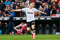 29th February 2020; Mestalla, Valencia, Spain; La Liga Football,Valencia versus Real Betis; Kevin Gameiro of Valencia CF celebrates after scoring the first goal for his team in minute 60 for 1-0