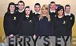 Students from Pobal Scoil Inbhear Sceine, Kenmare, attending their graduation ceremony on Friday were l-r: Siobhan Kennedy, Jessica Clifford, Kelsea O'Brien, Lisa O'Shea. Back l-r: Alex Cullen, Sean Moynihan, Keith Anthony and Kieran Mahony.