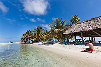 White sand beach on Laughing Brid Caye National Park, is a small isle 11 miles off the coast of Belize