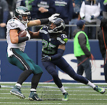 Philadelphia Eagles tight end Brent Celek (87) stiff arms Seattle Seahawks cornerback Richard Sherman (25) after catching a pass at CenturyLink Field in Seattle, Washington on November 20, 2016.  Seahawks beat the Eagles 26-15.  ©2016. Jim Bryant Photo. All Rights Reserved.