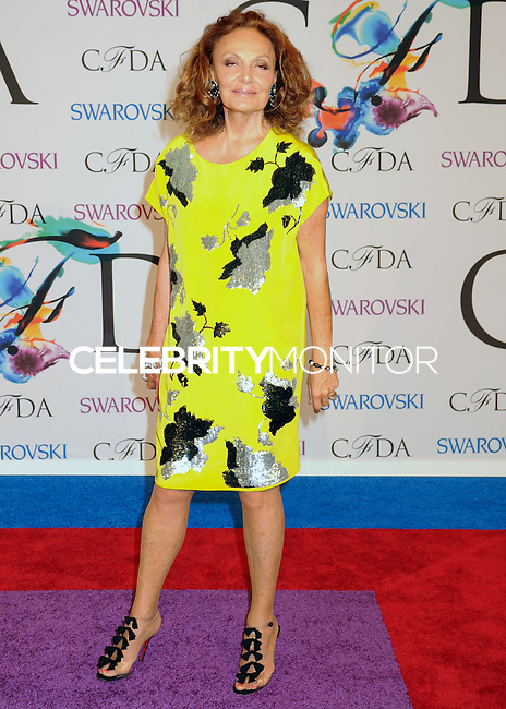 NEW YORK CITY, NY, USA - JUNE 02: Diane von Furstenberg arrives at the 2014 CFDA Fashion Awards held at Alice Tully Hall, Lincoln Center on June 2, 2014 in New York City, New York, United States. (Photo by Celebrity Monitor)